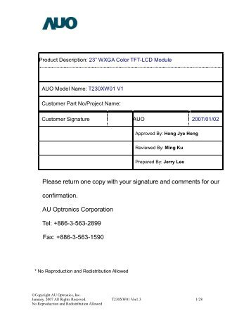 T230XW01 - LCD Panels | LCD Screen