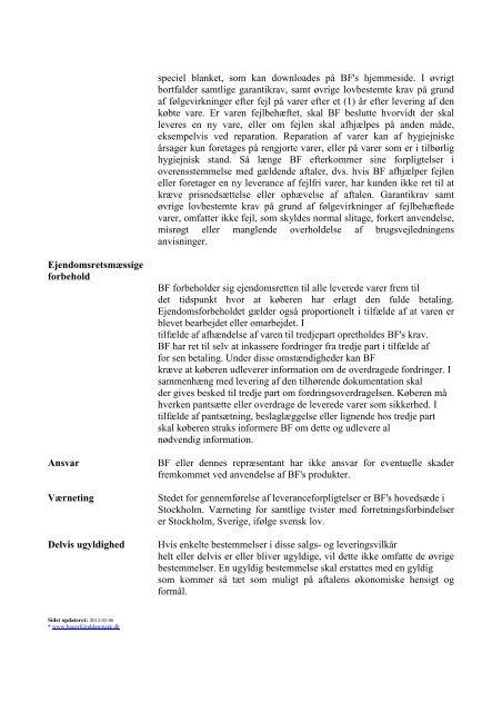 Salgs- og leveringsvilkår for Bauerfeind Nordic AB
