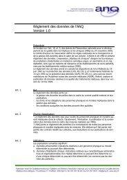 Règlement des données de l'ANQ Version 1.0 - Hplus
