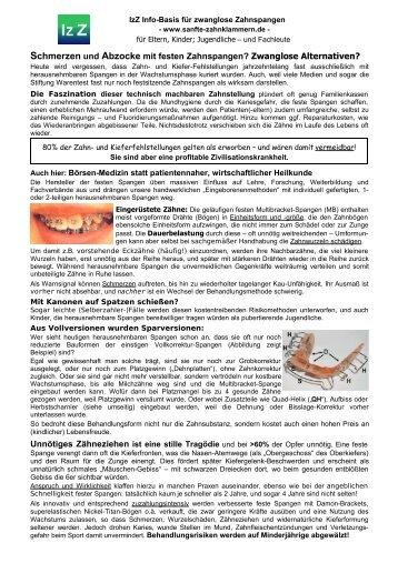 Schmerzen und Abzocke mit festen Zahnspangen? - IzZ Info-Basis ...