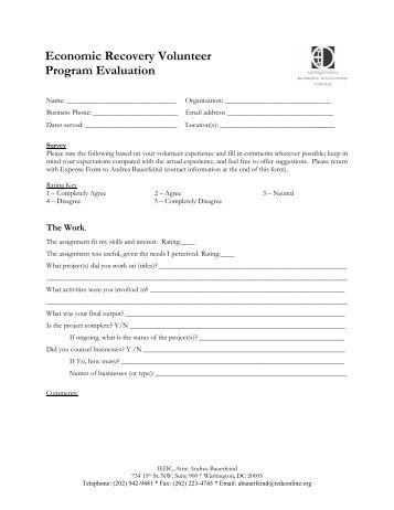 Site Evaluation Form Staff, Volunteers Financial General Facilities