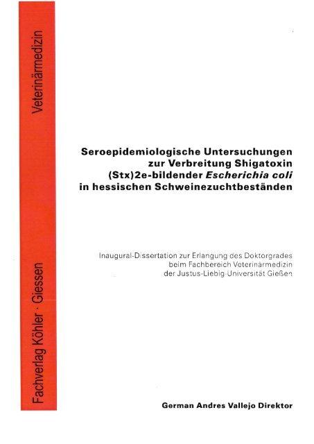 Seroepidemiologische Untersuchungen zur Verbreitung Shigatoxin ...