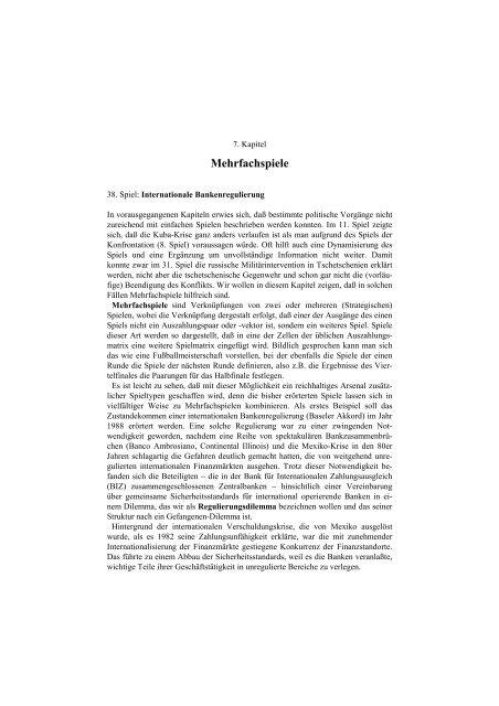 Angewandte Spieltheorie, 7. Kapitel