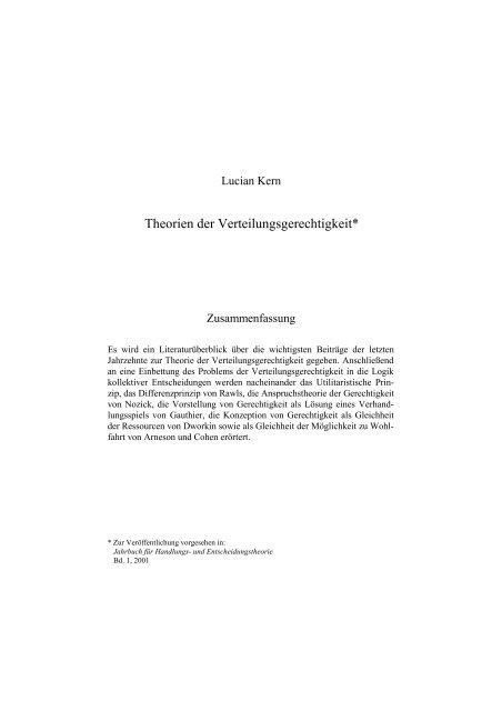 Theorien der Verteilungsgerechtigkeit - KERN's GAMES & DECISIONS