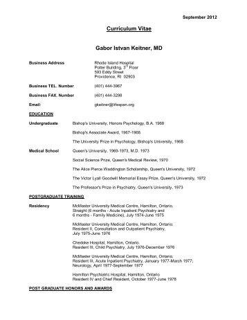 Curriculum Vitae Gabor Istvan Keitner, MD - Research - Brown ...