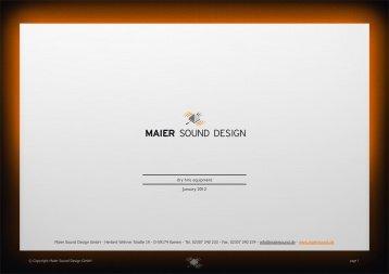 Equipment dry hire [PDF] - Maier Sound Design