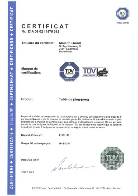 Tuv Certificat Tables De Ping Pong Maillith