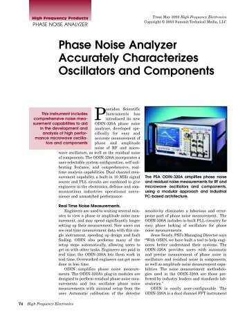Phase Noise Analyzer Accurately Characterizes Oscillators and ...