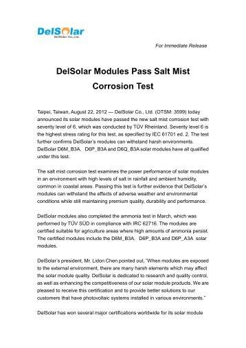 DelSolar Modules Pass Salt Mist Corrosion Test