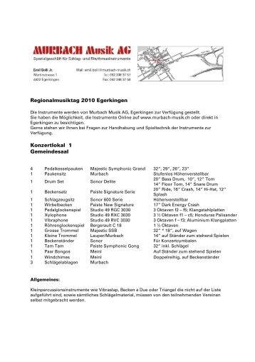 Instrumenteliste Schlagzeug - Konkordia Egerkingen