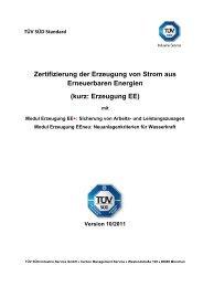 Zertifizierung der Erzeugung von Strom aus ... - TÜV Süd