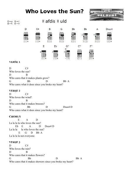 Hafdis Huld – Who Loves the Sun? (Chords)(PDF - Ukulele Hunt