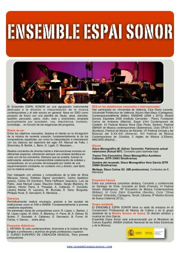 Leaflet Espai Sonor - Ensemble Espai Sonor