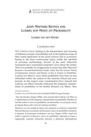 john maynard keynes and ludwig von mises on probability