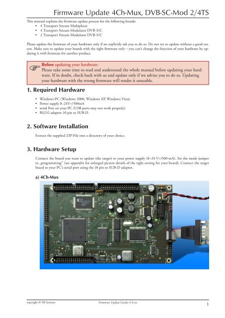 Firmware Update Guide en indd - SR-Systems