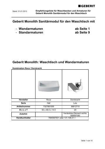 Empfehlungsliste Waschtischkombinationen - Geberit
