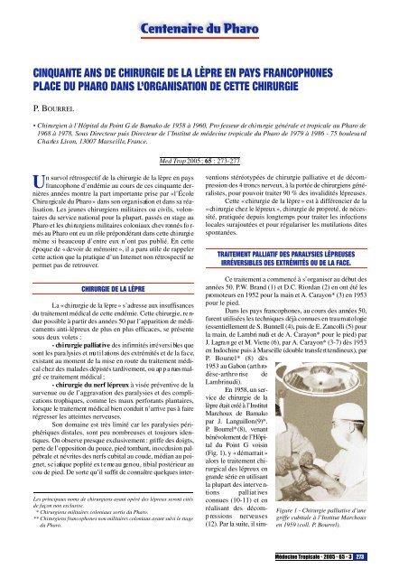 Centenaire du Pharo CINQUANTE ANS DE CHIRURGIE DE LA ...