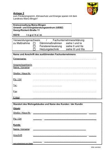 anlage 1 landkreis mainz bingen - Fachunternehmererklarung Muster