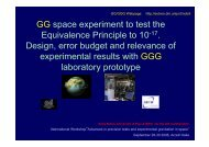 GG space experiment to test the Equivalence Principle to 10 ... - INFN