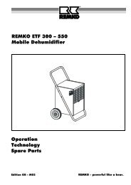 REMKO ETF 300 – 550 Mobile Dehumidifier Operation Technology ...