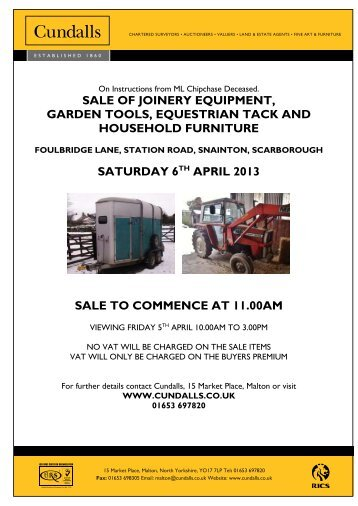 sale of joinery equipment, garden tools, equestrian tack ... - Cundalls