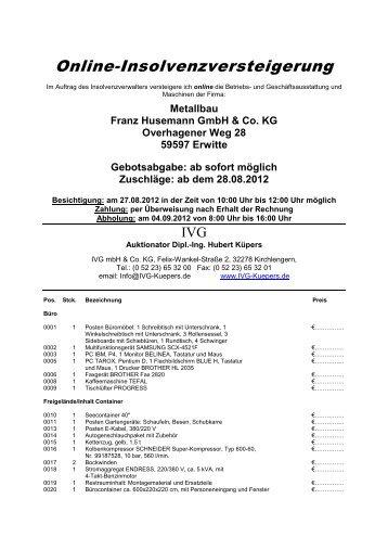 Online-Insolvenzversteigerung - IVG mbH & Co. KG