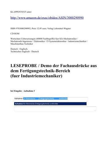 Leseprobe Deutsch-Englisch Fachwoerter-Uebersetzungen Fertigungstechnik