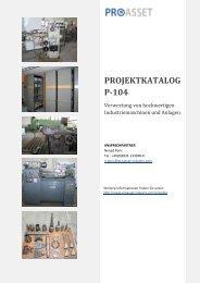 PROJEKTKATALOG P-104 - Proasset - Industry Solution GmbH