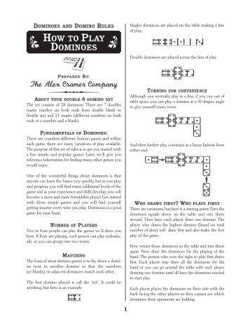 Domino Instructions Pdf File Alex Cramer Dominoes