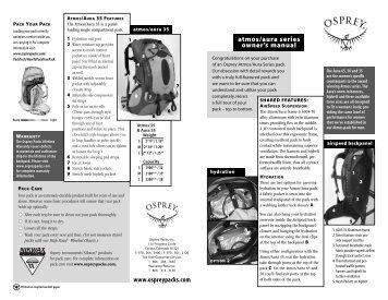 atmos/aura series owner's manual www ... - Osprey Packs, Inc