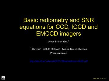 Basic radiometry and SNR eq. for CCD, ICCD - UNIS