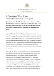 In Memoriam of Albert Cramer - Warsteiner Gruppe