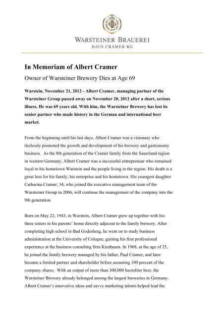 In Memoriam of Albert Cramer - Warsteiner Gruppe