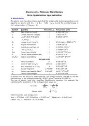 Atomic units; Molecular Hamiltonian; Born-Oppenheimer ...