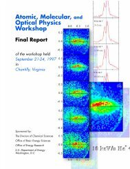 Atomic, Molecular, and Optical Physics Workshop - Office of Science ...