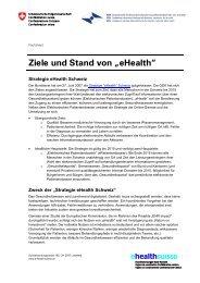 """Ziele und Stand von """"eHealth"""" - bei eHealth Suisse"""