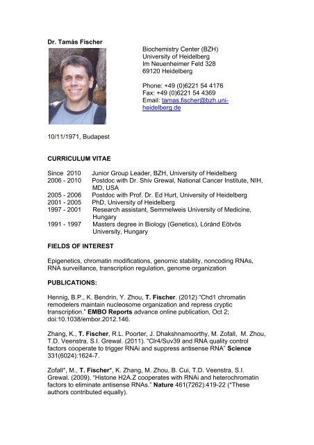 Dr. Tamás Fischer Biochemistry Center (BZH ... - CellNetworks