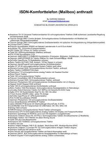 ISDN-Komforttelefon (Mailbox) anthrazit - Komunitas Blogger Unsri ...