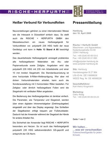 Herfurth Gmbh pressemitteilung rische herfurth gmbh