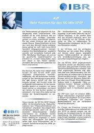 AVP Mehr Komfort für den AC-Win XP/IP - IBR Service GmbH