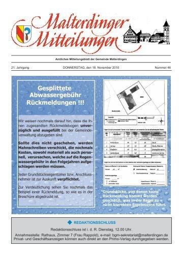 Gesplittete Abwassergebühr Rückmeldungen !!! - Gemeinde ...