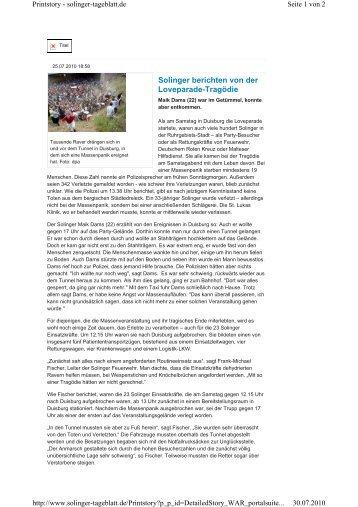Solinger berichten von der Loveparade-Tragödie - Malteser ...