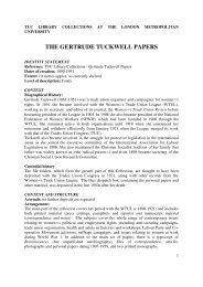 The Gertrude Tuckwell Papers - London Metropolitan University