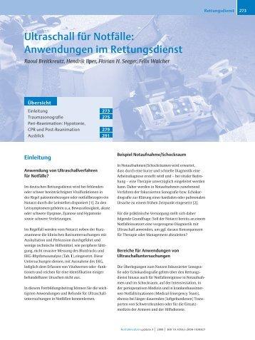 Ultraschall für Notfälle: Anwendungen im Rettungsdienst - FINeST