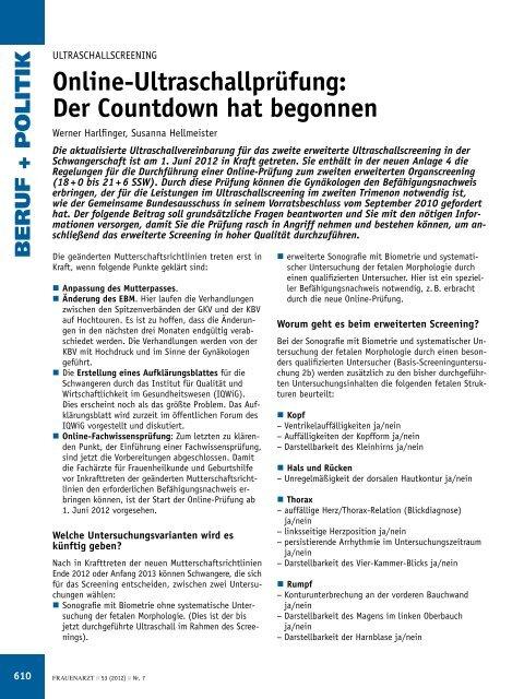 Online-Ultraschallprüfung: Der Countdown hat begonnen