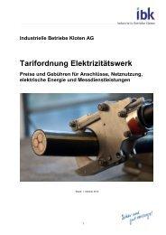 Tarifordnung Netznutzung und Energie - Industrielle Betriebe Kloten