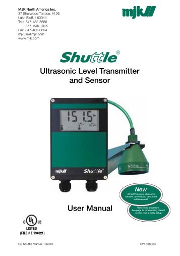 Ultrasonic Level Transmitter and Sensor User ... - MJK Automation