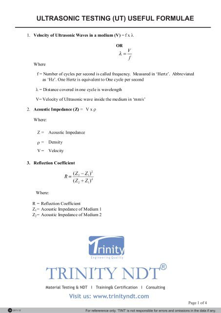 Ultrasonic testing useful formulae - Trinity NDT