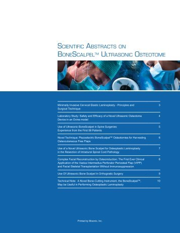 SCIENTIFIC ABSTRACTS ON BONESCALPELTM ULTRASONIC ...