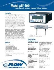 Model µLF-100 Ultrasonic Micro Liquid Flow Meter - Flow Technology